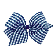 Gingham Print Bow - Navy-Accessories-WeeOnes-So & Sew Boutique