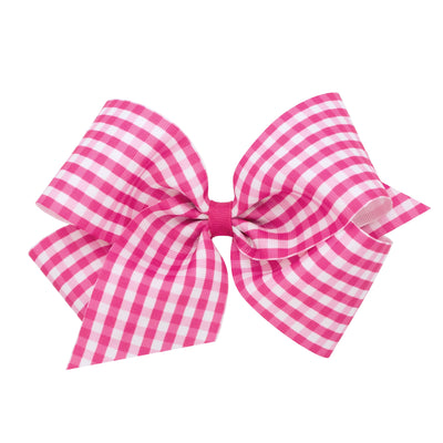 Gingham Print Bow - Pink-Accessories-WeeOnes-So & Sew Boutique