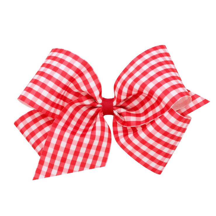 Gingham Print Bow - Red-Accessories-WeeOnes-So & Sew Boutique