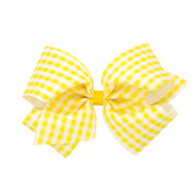 Gingham Print Bow - Yellow-Accessories-WeeOnes-So & Sew Boutique