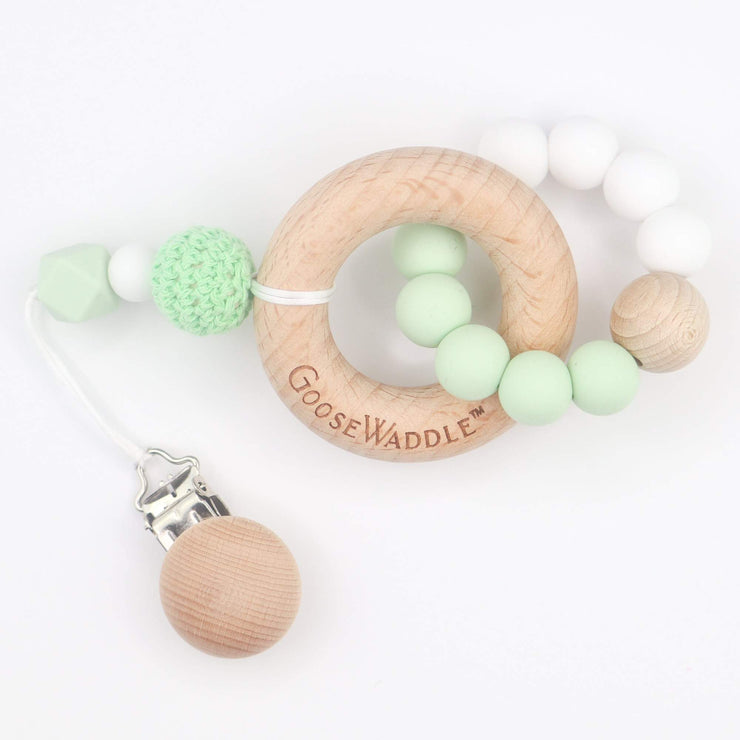 Green Wooden & Silicone Teether-Baby-GooseWaddle-So & Sew Boutique