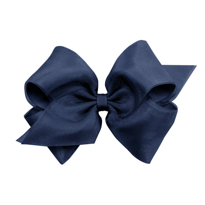 Organza Overlay Bow - Dark Navy-Accessories-WeeOnes-So & Sew Boutique
