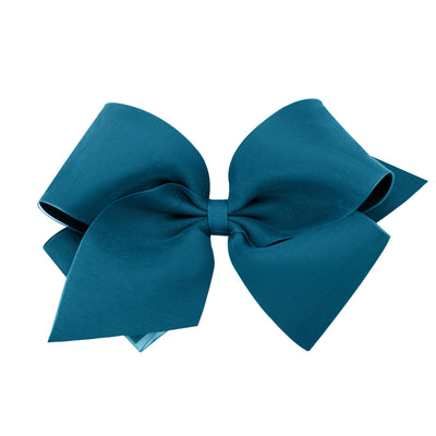 Organza Overlay Bow - Dark Teal-Accessories-WeeOnes-So & Sew Boutique