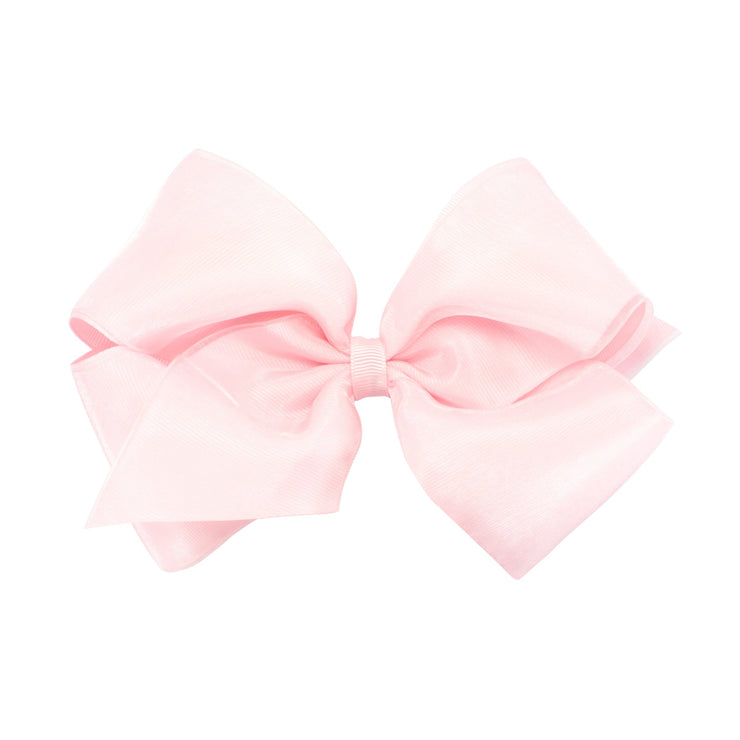 Organza Overlay Bow - Light Pink-Accessories-WeeOnes-So & Sew Boutique