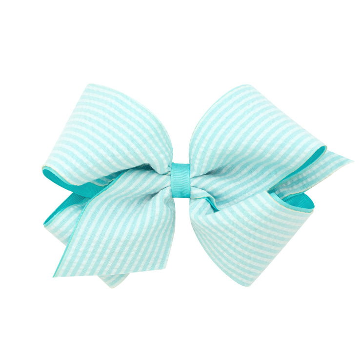 Seersucker Overlay Bow - Aqua-Accessories-WeeOnes-So & Sew Boutique