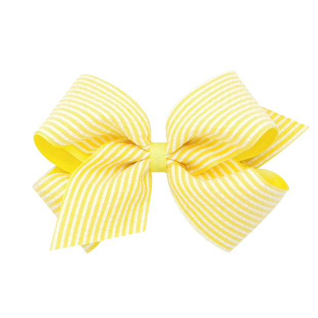 Seersucker Overlay Bow - Yellow-Accessories-WeeOnes-So & Sew Boutique