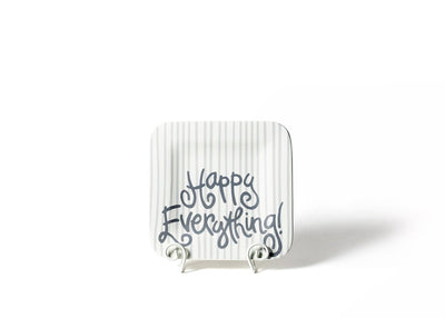 Stone Skinny Stripe Mini Happy Everything! Square Platter-Housewares-Coton Colors-So & Sew Boutique