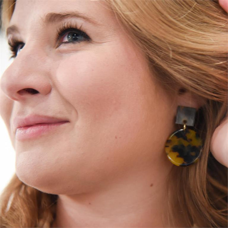 Tortoise Square Circle Earrings-Jewelry-MSC-So & Sew Boutique