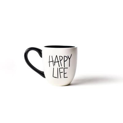 White Happy Life Mug-Drinkware-Coton Colors-So & Sew Boutique