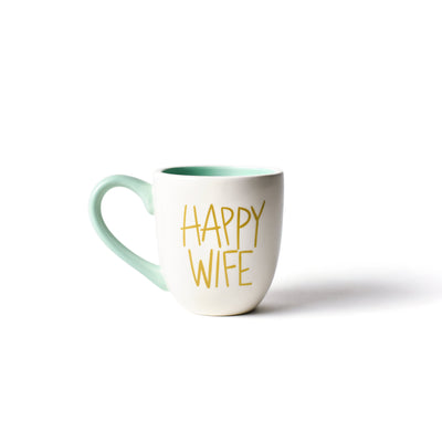 White Happy Wife Mug-Drinkware-Coton Colors-So & Sew Boutique