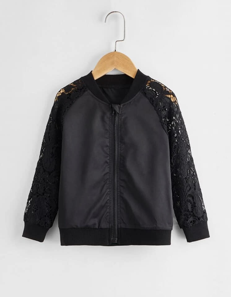 Toddler Lace Sleeve Bomber Jacket