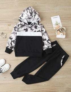 Black and White Camo Boys Lounge Set