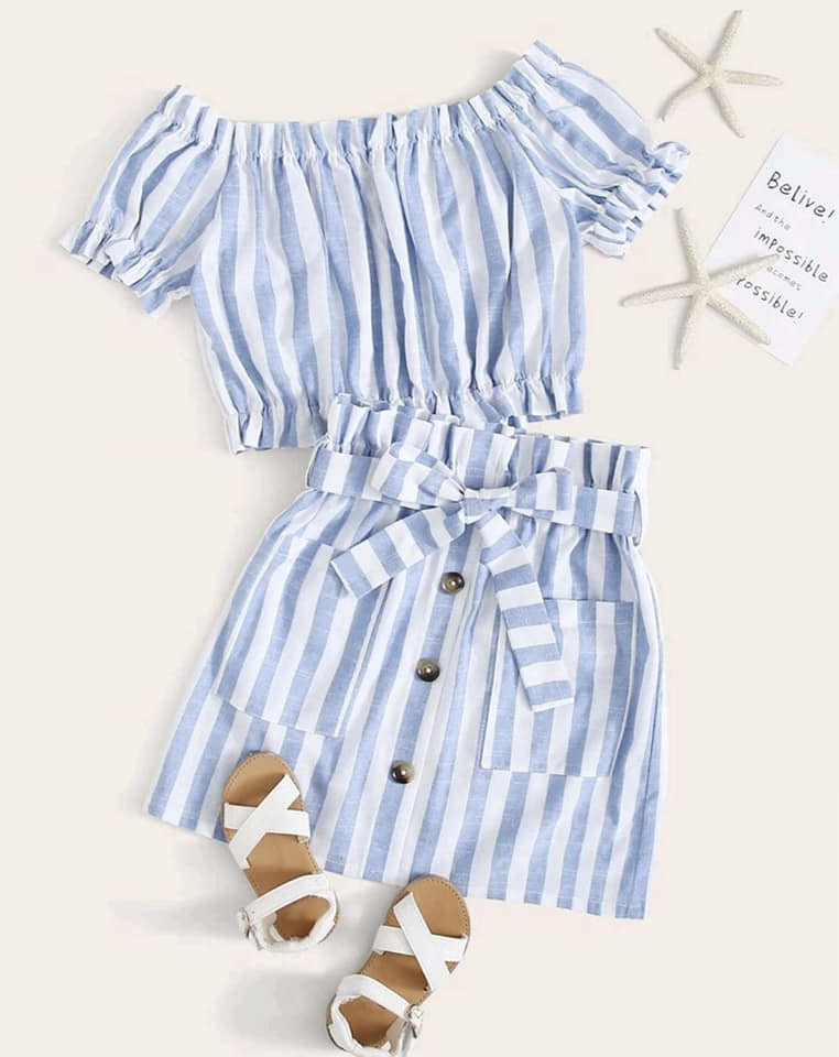 Girls Striped Skirt Set