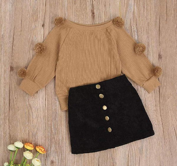 Puff Sleeve Sweater and Skirt Set