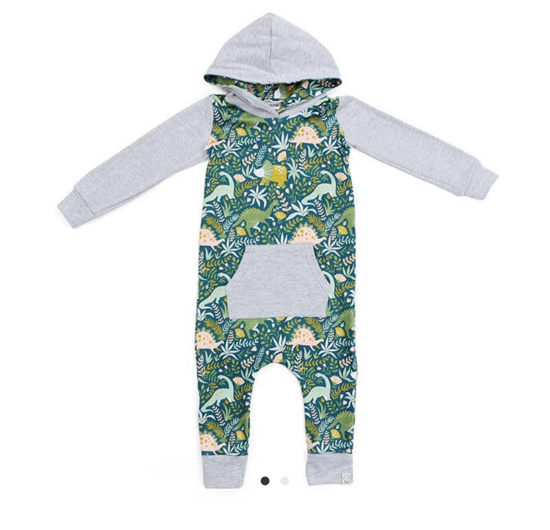 Dinosaurs Hooded Sweatshirt Romper
