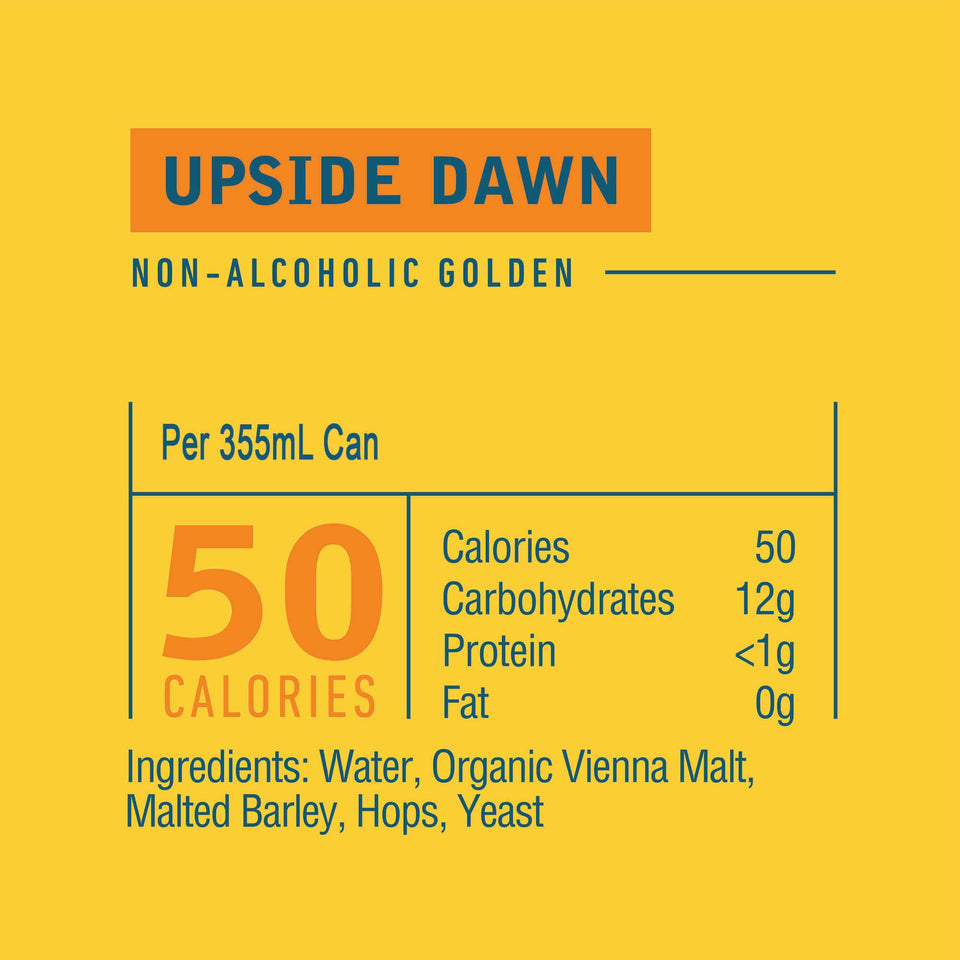 Athletic Brewing Co Upside Dawn Golden Ale 355mL Nutritional Information | Craftzero
