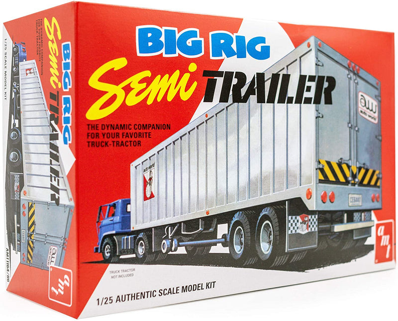 AMT Big Rig Semi-Trailer - 1/25 Scale Model Truck Kit - Buildable Hauler for Kids and Adults