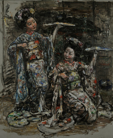 Two Japanese Girls, E A Hornel, c1921–25, oil on canvas, NTS, Broughton House