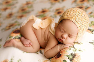 Yellow lace bonnet with velvet ties