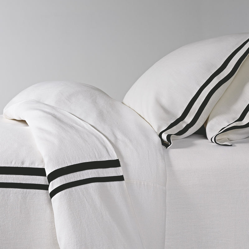 Linen Duvet Cover with Grosgrain Ribbon