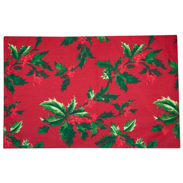 Holly Print Placemats - Set of 4