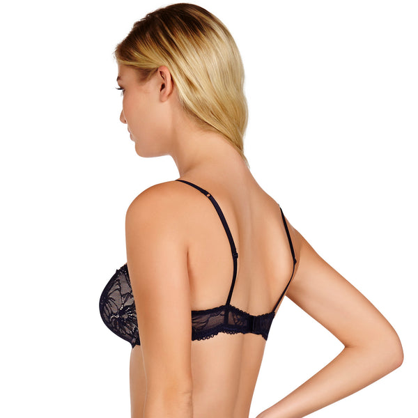 Heidi Klum Intimates Lingerie Sabine Contour Balconette Bra in Evening Blue underwear backview