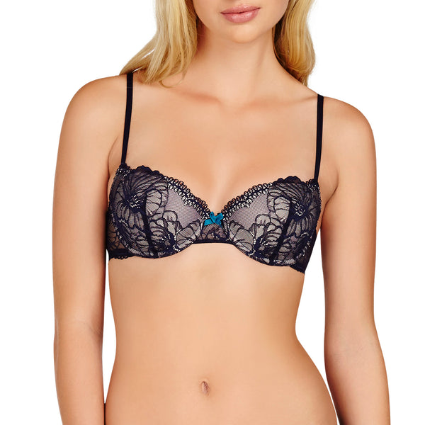 Heidi Klum Intimates Lingerie Sabine Contour Balconette Bra in Evening Blue underwear frontview