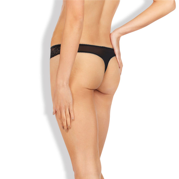 Heidi Klum Intimates Lingerie Sofia Thong Jet Pewter backview