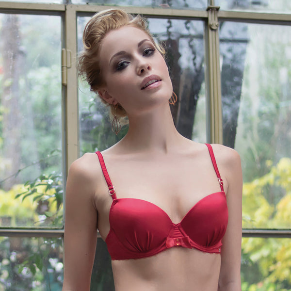 Rosy Charmeuse Bra in Red Christmas Gift or Valentine Lingerie frontview
