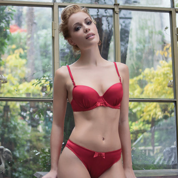 Rosy Charmeuse Bra in Red Christmas Gift or Valentine Lingerie fullview