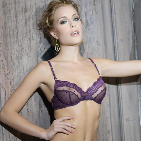 Rosy Elegante Bra in Violet Purple Honeymoon Lingerie frontview