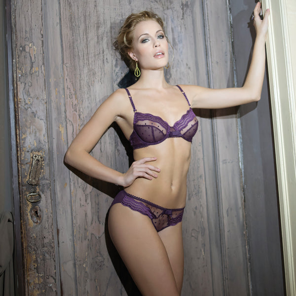 Rosy Elegante Bra in Violet Purple Honeymoon Lingerie fullview