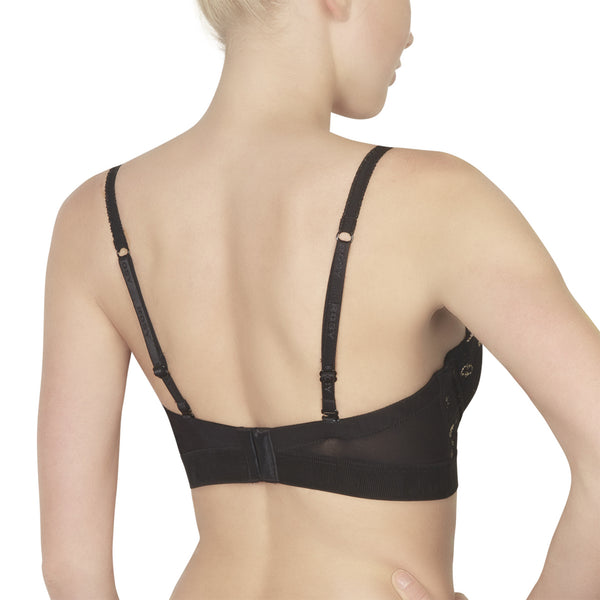 Rosy L'Adorable Long Line Bra in Noir Honeymoon Lingerie backview
