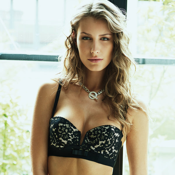 Rosy L'Adorable Long Line Bra in Noir Honeymoon Lingerie frontview