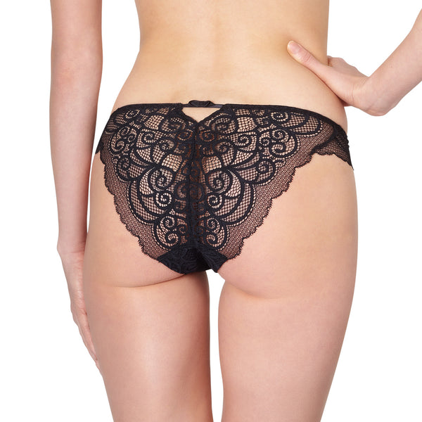 Rosy L'Amour Lace Brief in Noire Honeymoon Lingerie backview