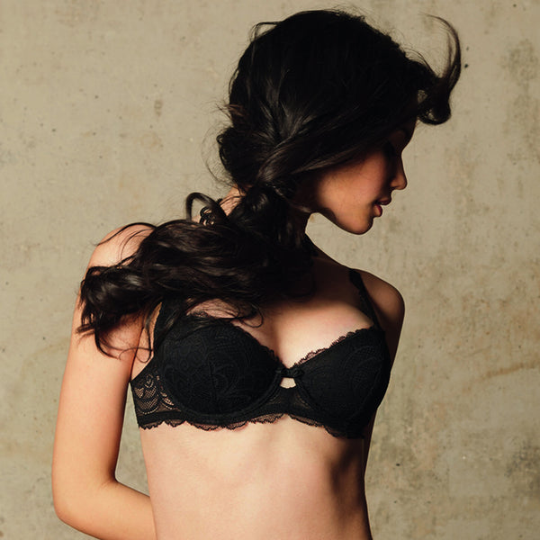 Rosy L'Amour Lace Padded Bra in Noire Honeymoon Lingerie frontview