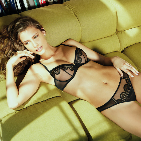 Rosy La Piquante Bra in Noire Black Honeymoon Lingerie fullview