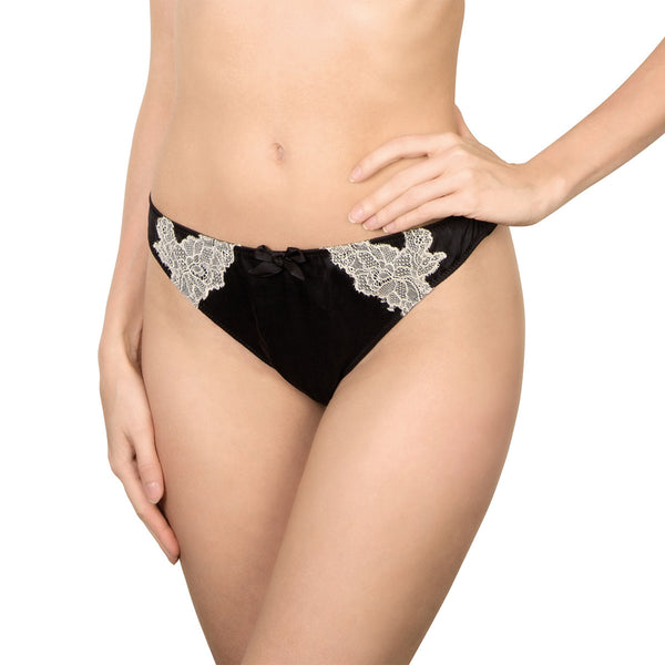 Rosy Sublime Brief in Black Cream Honeymoon Lingerie frontview