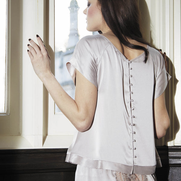 Shell Belle Couture Aphrodisiac Blouse in Mink Grey Honeymoon Lingerie Backview