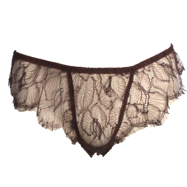 Shell Belle Couture Lingerie Love Story Lace Sheer Brief in Truffle flatview