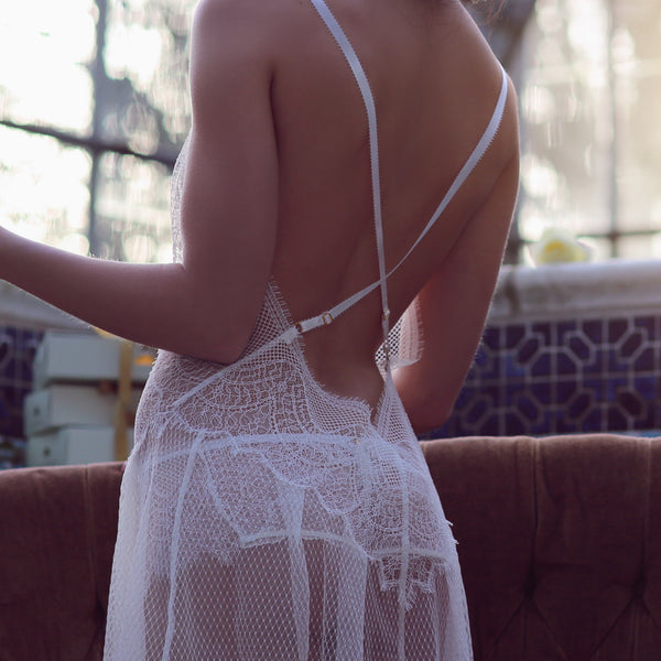 Shell Belle Couture Lingerie Love Story Lace Short Slip in Crème Backview Detail