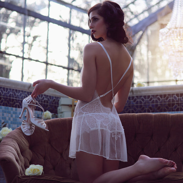 Shell Belle Couture Lingerie Love Story Lace Short Slip in Crème Backview