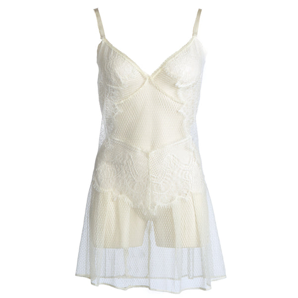Shell Belle Couture Lingerie Love Story Lace Short Slip in Crème Flatview