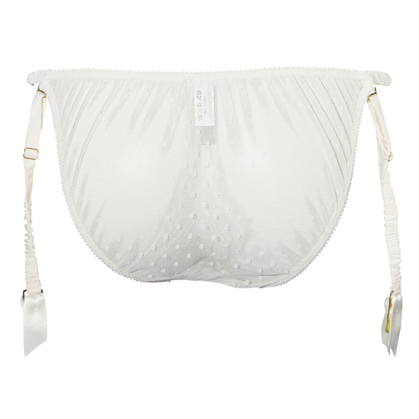 Shell Belle Couture Pleasing Pleasing Suspender Brief in Porcelain Wedding Night Lingerie Flatview Back