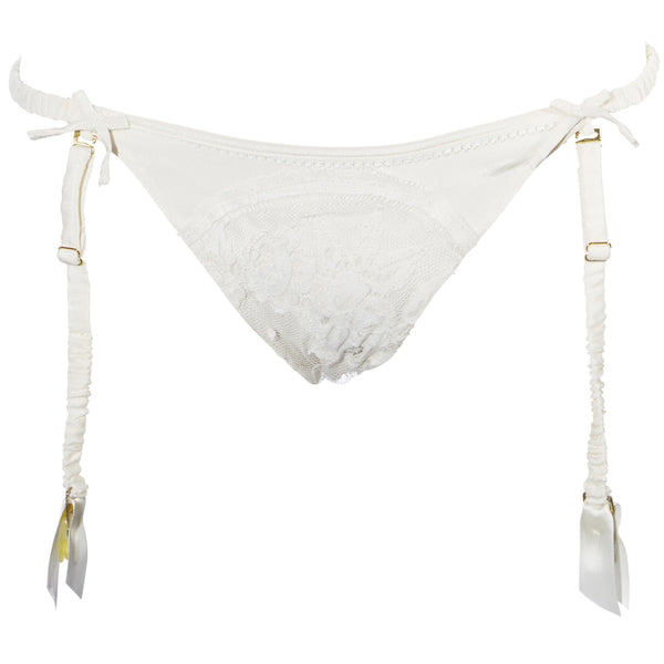 Shell Belle Couture Pleasing Pleasing Suspender Brief in Porcelain Wedding Night Lingerie Flatview