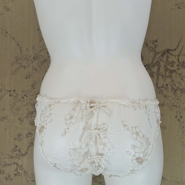 Shell Belle Couture Vintage Lace Slip & Brief Set in Crème Wedding Night Lingerie Flatview Brief Back