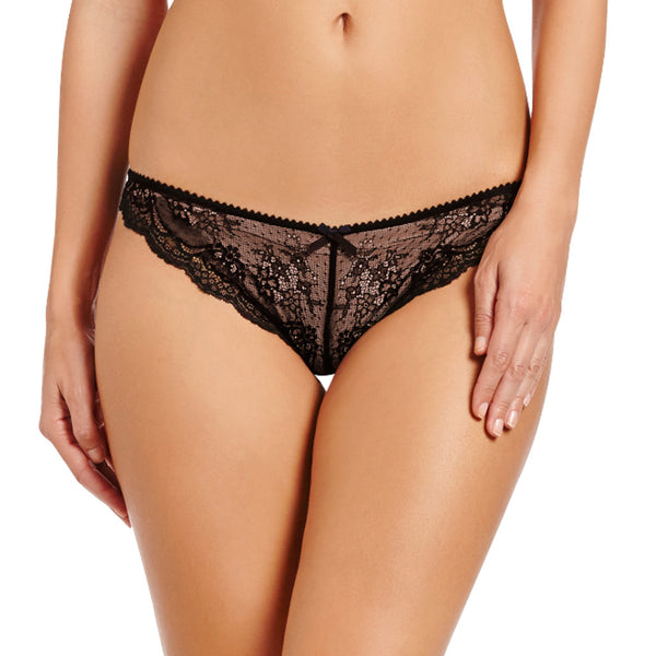 Heidi Klum Intimates Lingerie Odette black lace brief honeymoon lingerie