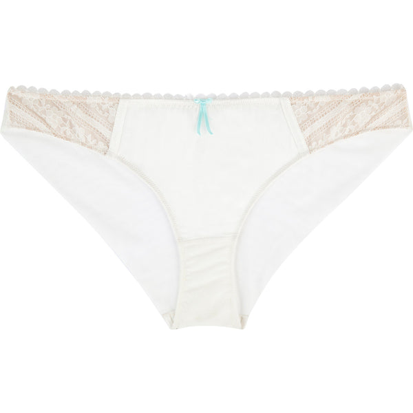 Heidi Klum Intimates Lingerie Paradise Promises white bridal brief knicker in blanc de blanc rose dust flat