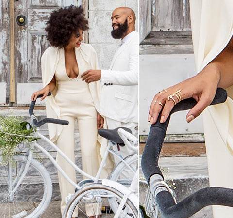 Solange in Lady Grey jewelry rings at her wedding by Jill Martinelli and Sabine Le Guyader