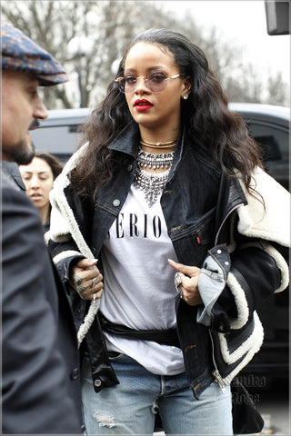 Rihanna wearing Lady Grey Jewelry Pearled Collar by Jill Martinelli and Sabine Le Guyader
